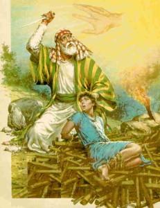 Entonces habló Isaac a Abraham su padre, y dijo: Padre mío. Y él respondió: Heme aquí, mi hijo. Y él dijo: He aquí el fuego y la leña; mas ¿dónde está el cordero para el holocausto? Y respondió Abraham: Dios se proveerá de cordero para el holocausto, hijo mío. E iban juntos. Y cuando llegaron al lugar que Dios le había dicho, edificó allí Abraham un altar, y compuso la leña, y ató a Isaac su hijo, y lo puso en el altar sobre la leña.