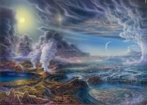 """Y la tierra estaba desordenada y vacía, y las tinieblas estaban sobre la faz del abismo, y el Espíritu de Dios se movía sobre la faz de las aguas. Y dijo Dios: sea la luz; y fue la luz. Y vio Dios que la luz era buena; y separó Dios la luz de las tinieblas. Y llamó Dios a la luz día, y a las tinieblas llamó noche. Y fue la tarde y la mañana un día. Luego dijo Dios: haya expansión en medio de las aguas, y separe las aguas de las aguas."""" (Génesis 1:1-6)"""